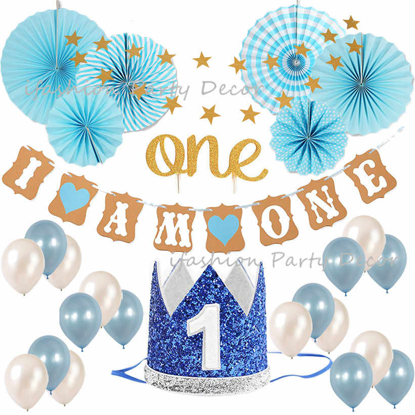 Baby Boy First Birthday Decorations Party Supplies Blue And Gold Theme Kit Set Cake Topper