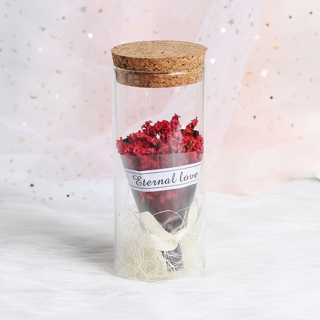 LED Eternal Flower Immortal Flora Light Up Dome Beauty and The Beast Rose In A Flask Valentine's Day Birthday Christmas Day Gift - Цвет: Babysbreath Red
