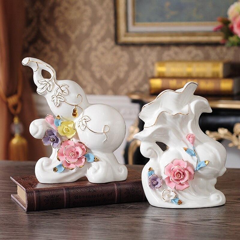 Européen créatif moderne gourde chou chanceux en céramique décoration salon TV armoire décor à la maison porcelaine plante figurines