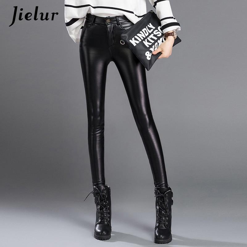 Jielur   Capris   Autumn Winter Black Women PU Leather   Pants   Velvet Elastic Stretch   Pants   Skinny Pencil   Pants   Trousers 3XL Dropship