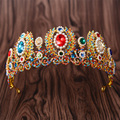 Persian Arab-style European Baroque Color Crystal Rhinestone Grand Crown White Pearl Bride Headdress Crown