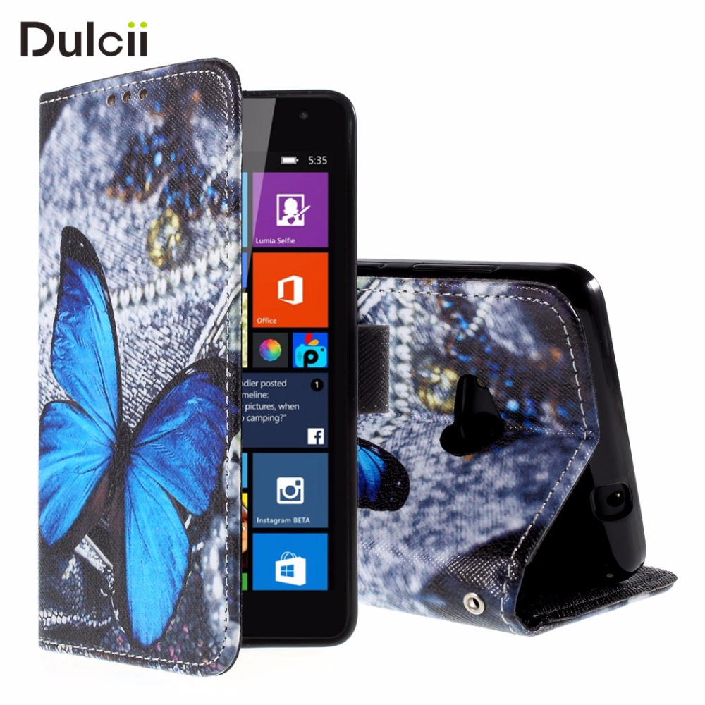 Dulcii for Microsoft Lumia 535 Case for Nokie Lumia 535 Dual SIM Lumia535 Phone Bag Wallet PU Leather Cover Mobile Cell Protect