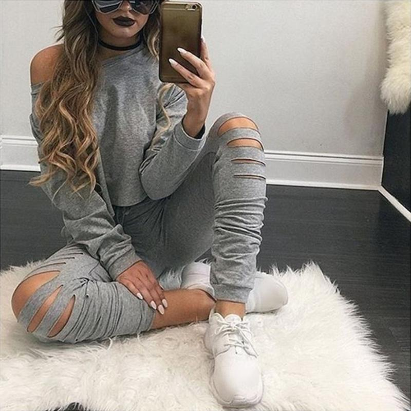 Women Sexy Two Piece Set Tracksuit Top And hole Pants Ladies Casual off shoulder blouse Suits Sweatsuits For Women Spring Autumn 3