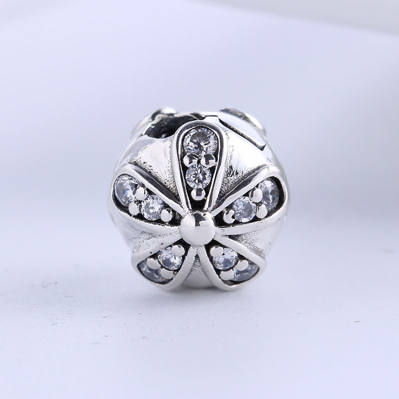 Authentic 100% 925 Sterling Silver Fit Original Pandora Bracelet Luxury Dazzling Daisies CZ Clip Charm Beads for Jewelry Making