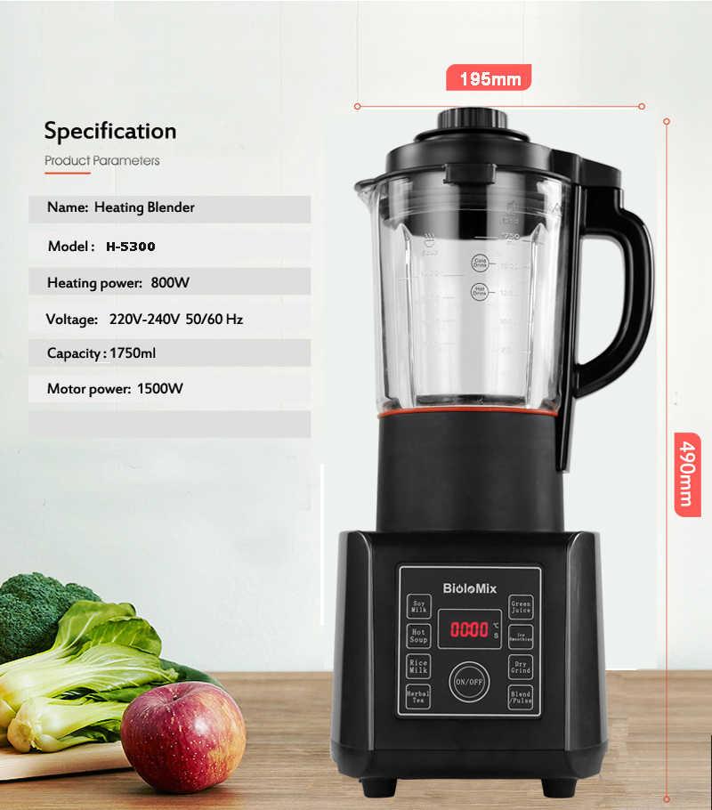 Digital BPA LIVRE 1.75L Jarra De Vidro Liquidificador Fabricante de Sopa Quente Mixer Juicer Moedor Processador de Alimentos de Alta Potência Com Função de Aquecimento