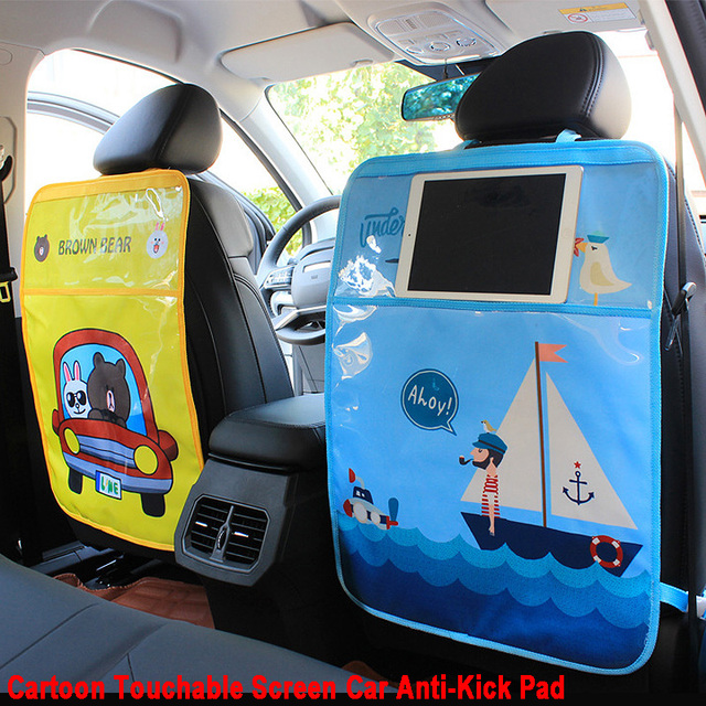 New Cartoon Waterproof Baby Kids Car Anti-Kick Pad Auto Car Seat Back Storage Bag Touchable Screen Organizer Backseat Protector