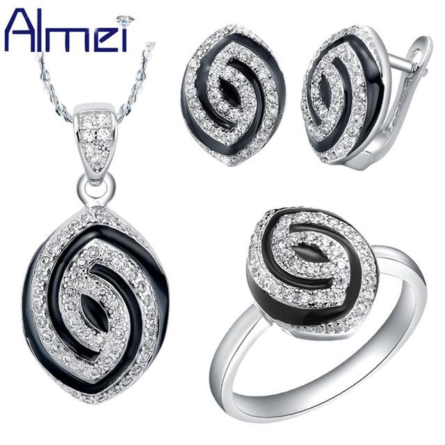 Almei Plata Nupcial Sistemas de la Joyería de Circón de Moda Marca Negro Aretes Collar de Esmalte Oval Crystal Bijoux para La Muchacha Mujeres T173