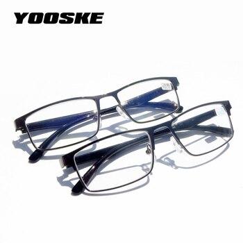 edce46c970 YOOSKE marco de Metal resina gafas de lectura hombres mujeres + 1,00 1,50  2,00 2,50 3,00 dióptero