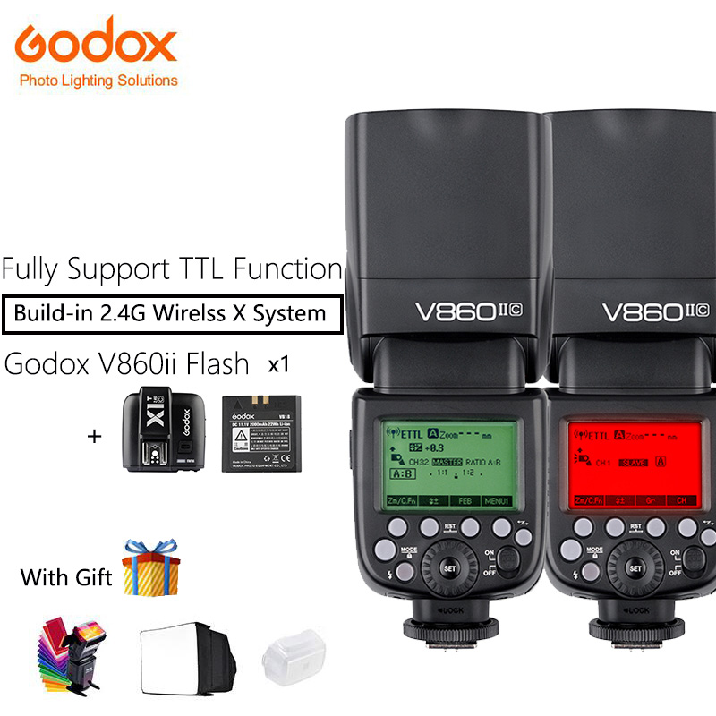 Godox V860II-S/N/C Speedlite Camera Flash with X1T trigger 2pcs VB18 Li-ion Battery Fast 2.4G Wireless TTL For Canon/Nikon/Sony godox v860iis flash speedlite 2 v860ii s ttl hss 2 4g li ion battery x1t s trigger for sony dslr cameras supon free gift kit