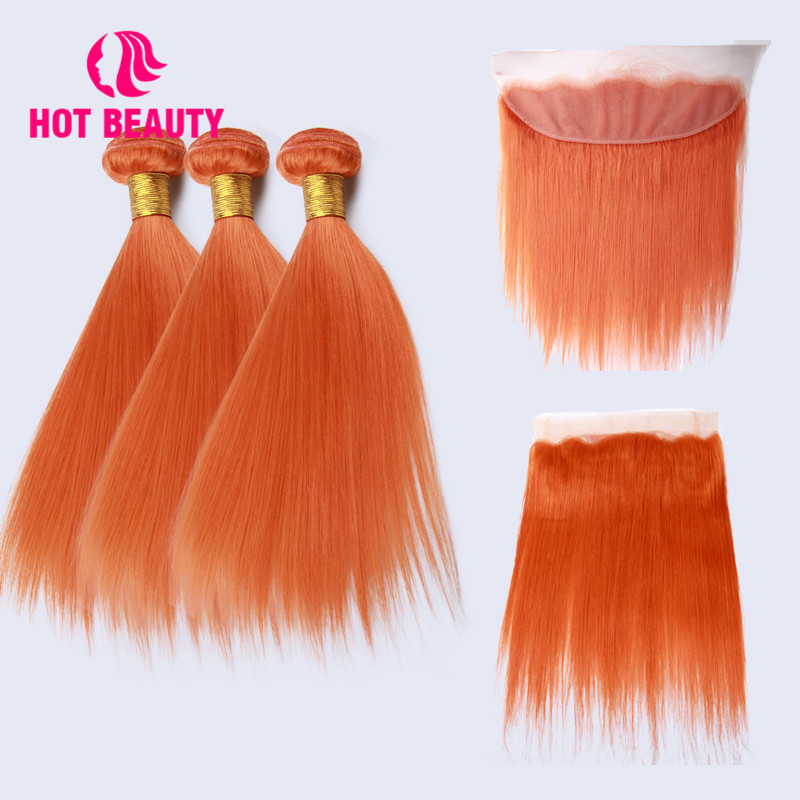 Hot Beauty Hair Straight Brazilian Hair Weave Bundles Remy Human Hair Bundles With Frontal Colorful Hair