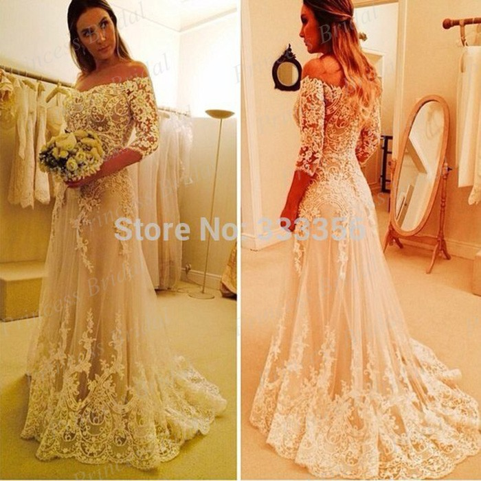 New Coming Three Quarter Sleeves Wedding Gown Sweep Train Off ...