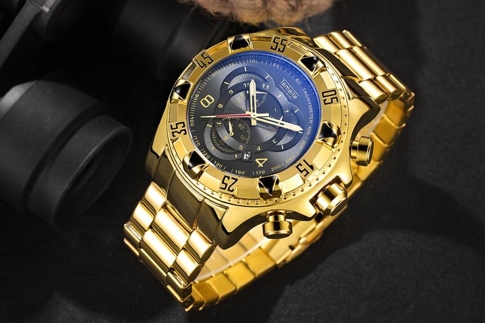 19 Top Brand Luxury Mens Oversize Watch Gold Business Steel Quartz Clock Waterproof Sport Military Chronograph Male Wristwatch 14