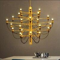 18 30 50 Bulbs Nordic Gold Color Gino Sarfatti Chandelier Living Room Villa Decoration Light Studio