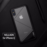 Nillkin For IPhone X Tempered Case Silicone Soft Edge Phone Case Anti Knock Tempered Glass Back