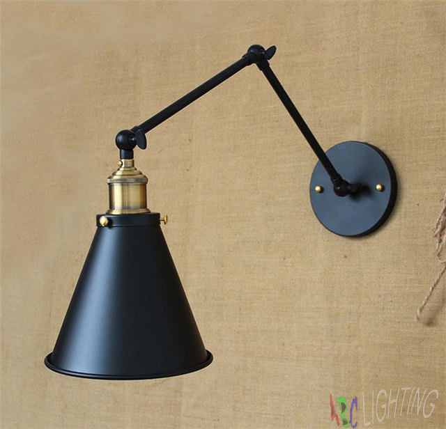 Aliexpress.com : Buy Retro DIY Industrial Swing arm Metal Wall lamp Fixture black Iron Funnel ...