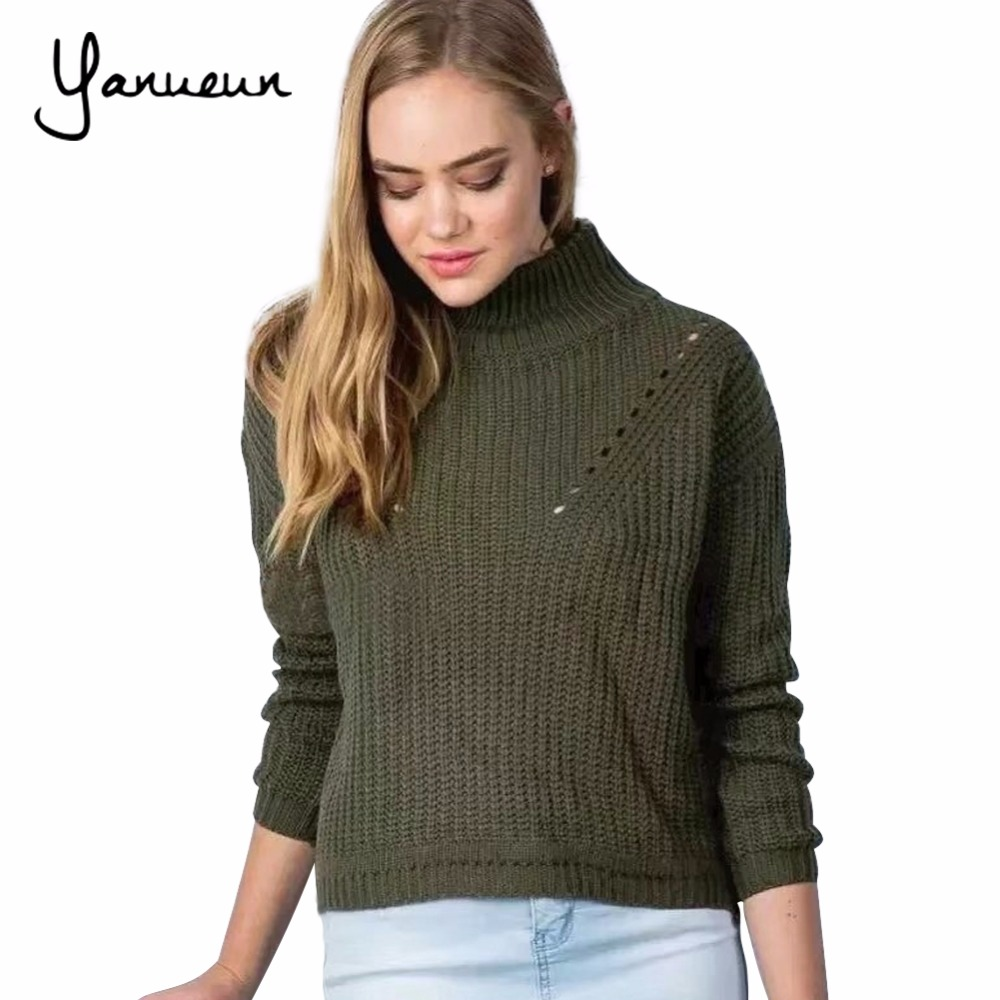 Yanueun 2017 Autumn Winter Women Sweaters And Pullovers Loose Casual Solid Color Turtleneck Twist Knitted Wool Thicke Sweater