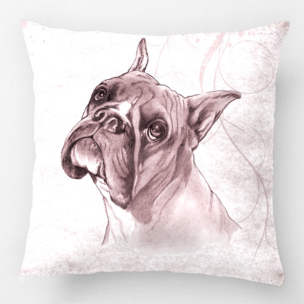 Boxer Dog Head Wedding Decorative Cushion Cover Pillow Case Customize Gift High-Quility By Lvsure For Car Sofa Seat Pillowcase