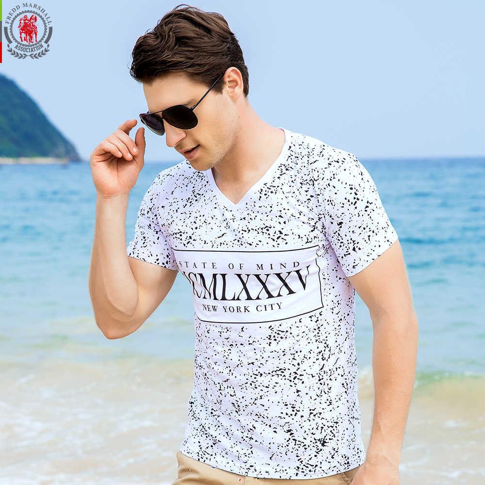FREDD MARSHALL New Arrival Men T-shirt Men's Short Sleeve Tee Mens Full Polka Dot Printing Cotton Flexible Tops Plus size 309