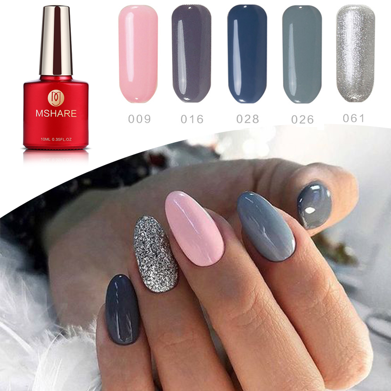 Aliexpress.com : Buy MSHARE 5 Pcs Pink Grey Silver UV Gel Polish ...