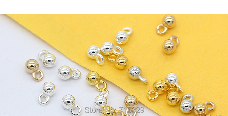Silver Gold Plated Bronze Metal Round Ball Charms Chain Dangle End Beads 4.2x7mm