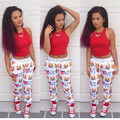 High quality contrast color emoji joggers pants heavy weight full length emoji pants cartoon joggers harem pants wholesale
