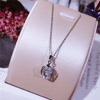 Fashion Minimalist 3D Three Dimensional Hollow Cross Crown Necklace 925 Sterling Silver Micro Style Clavicle Chain