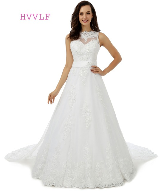 Vestido De Noiva 2018 Plus Size Wedding Dresses A line Chapel Train ...