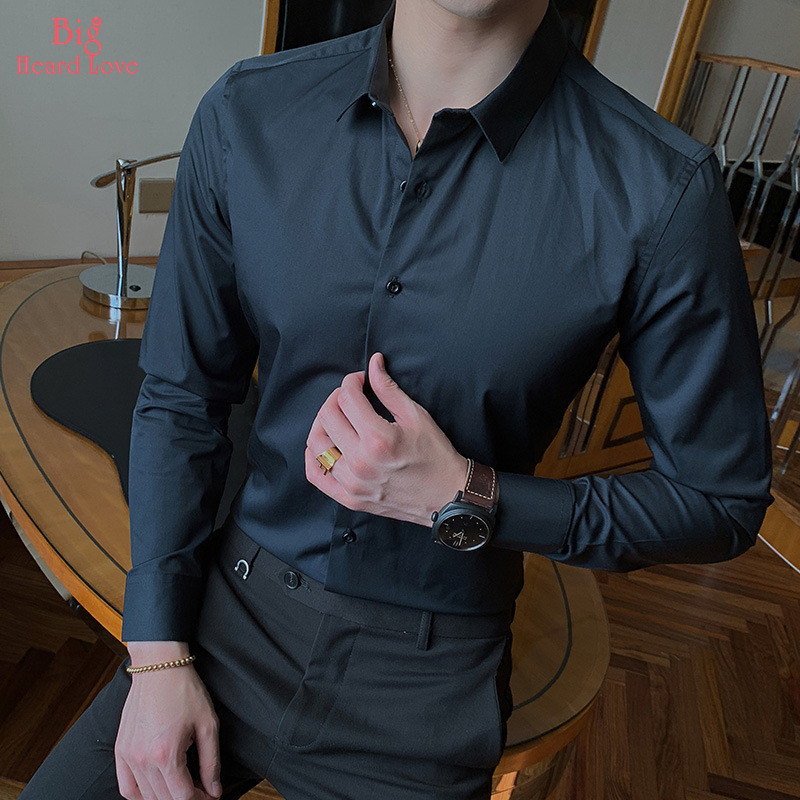 White Shirt Men Fashionable Business  Solid Color Casual Long Sleeve Summer Male Social Shirt Spring Clothes NCX-150