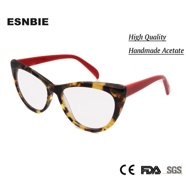 Nova Moda das Mulheres-Olho de Gato Óculos Quadros Decorativos Artesanais  Óculos de Acetato de 66c5818c79