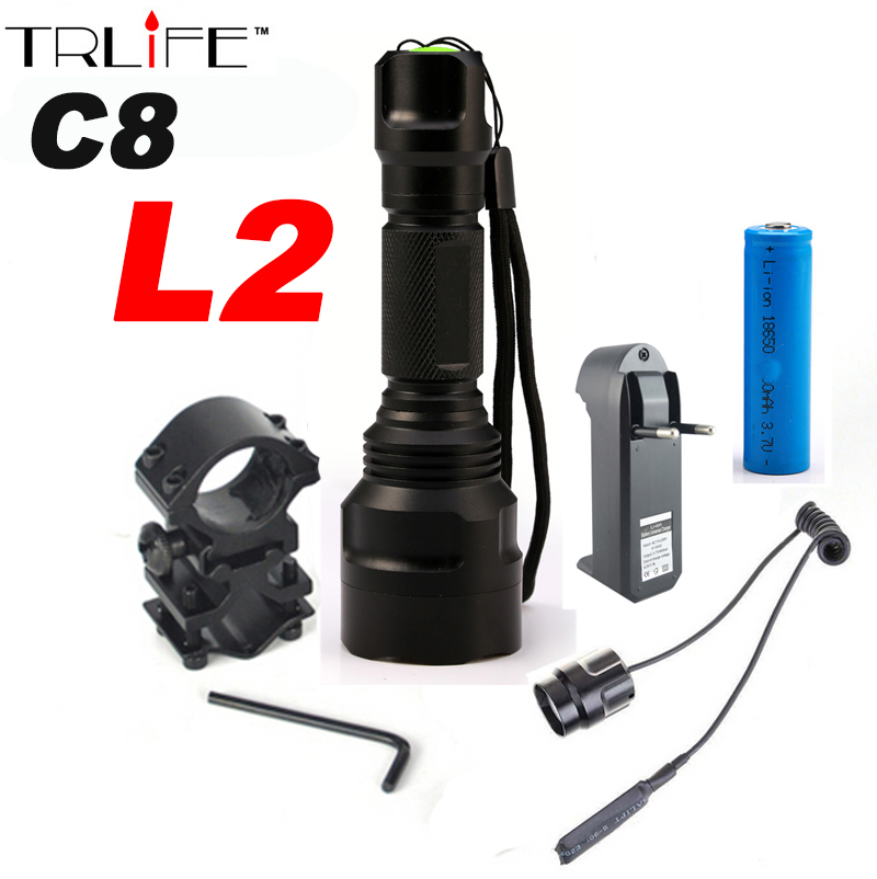 6000Lumens Flashlight Linterna LED XM-L2 Tactical Flashlight  Aluminum Hunting Flash Light Torch Lamp +18650+Charger+Gun Mount cree xm l t6 bicycle light 6000lumens bike light 7modes torch zoomable led flashlight 18650 battery charger bicycle clip