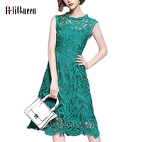 Women Lace Dress 2019 Summer Top Grade Women Fashion Cocktail Party Women Crochet Lace Embroidery Sleeveless A Line Green Dress