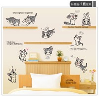2017 Promotion Vinilos Paredes Hot Sale Lovely Lively Cats Wall Stickers For Kids Room Baby Car