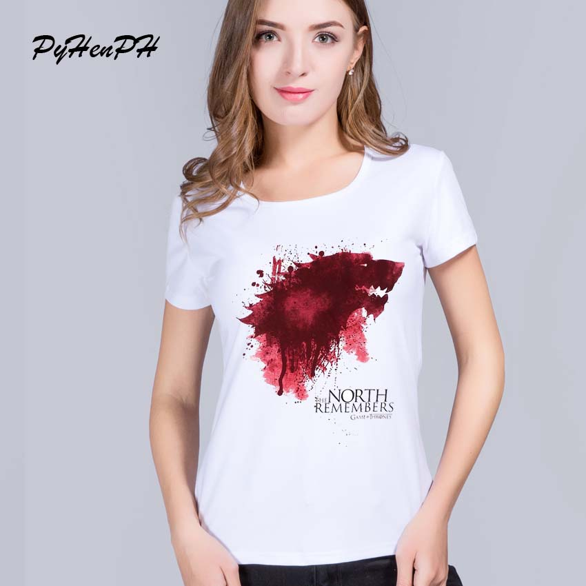 PinHe 2016 Summer Style Game of Thrones Design Printed t shirt women Blusa Short Sleeve Wolf Fashion women tops