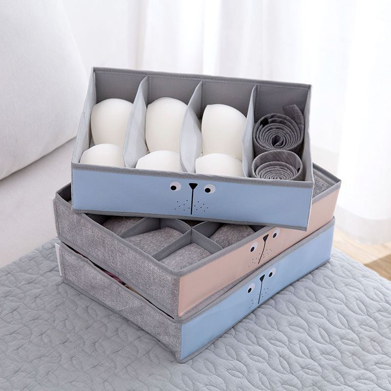 Cloth Underwear Storage Box Panties Plaid Finishing Box Organizer Hosehold Desktop Compartment Bra Socks Storage Container8