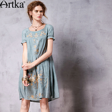 ARTKA Women's Summer New Vintage O-Neck Short Sleeve Embroidery Cutton Loose Style Comfy Dress LA10262C