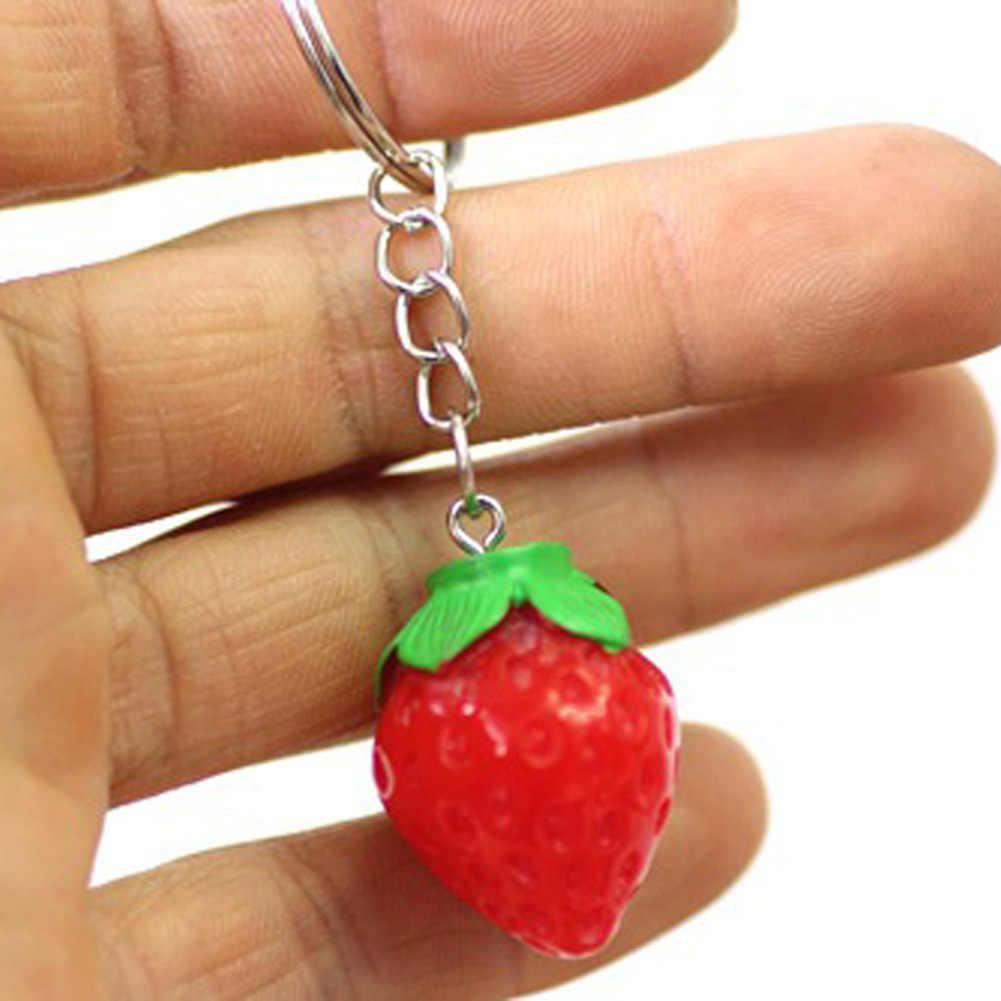 สตรอเบอร์รี่สีแดงน่ารักเสน่ห์จี้จี้กระเป๋ากระเป๋ารถพวงกุญแจโซ่ของขวัญเครื่องประดับชุดผลไม้แฟชั่นใหม่