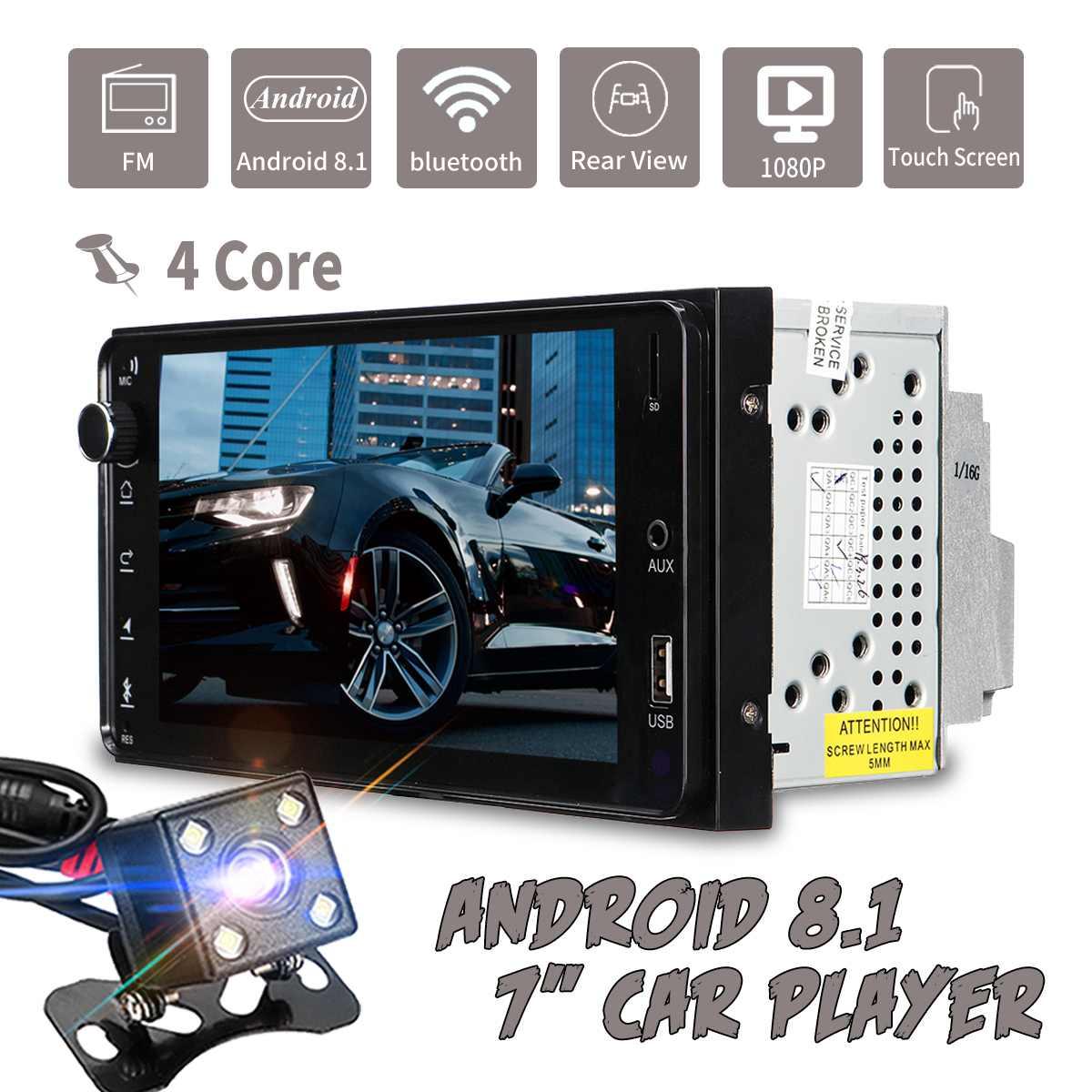 7 2 Din Android 8,1 автомобильный мультимедийный плеер с сенсорным экраном bluetooth wifi gps 4 ядра AM FM Carplay MP5 Радио стерео для Toyota