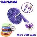 Brankbass micro usb cable 1 m 2 m 3 m cable usb de sincronización de datos de tela tejida cargador de teléfono inteligente para tablet pc
