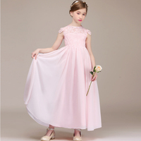 Children's clothing girl dress princess pink dresses elegant party wedding dress 2018 custom dress for kids girls chiffon