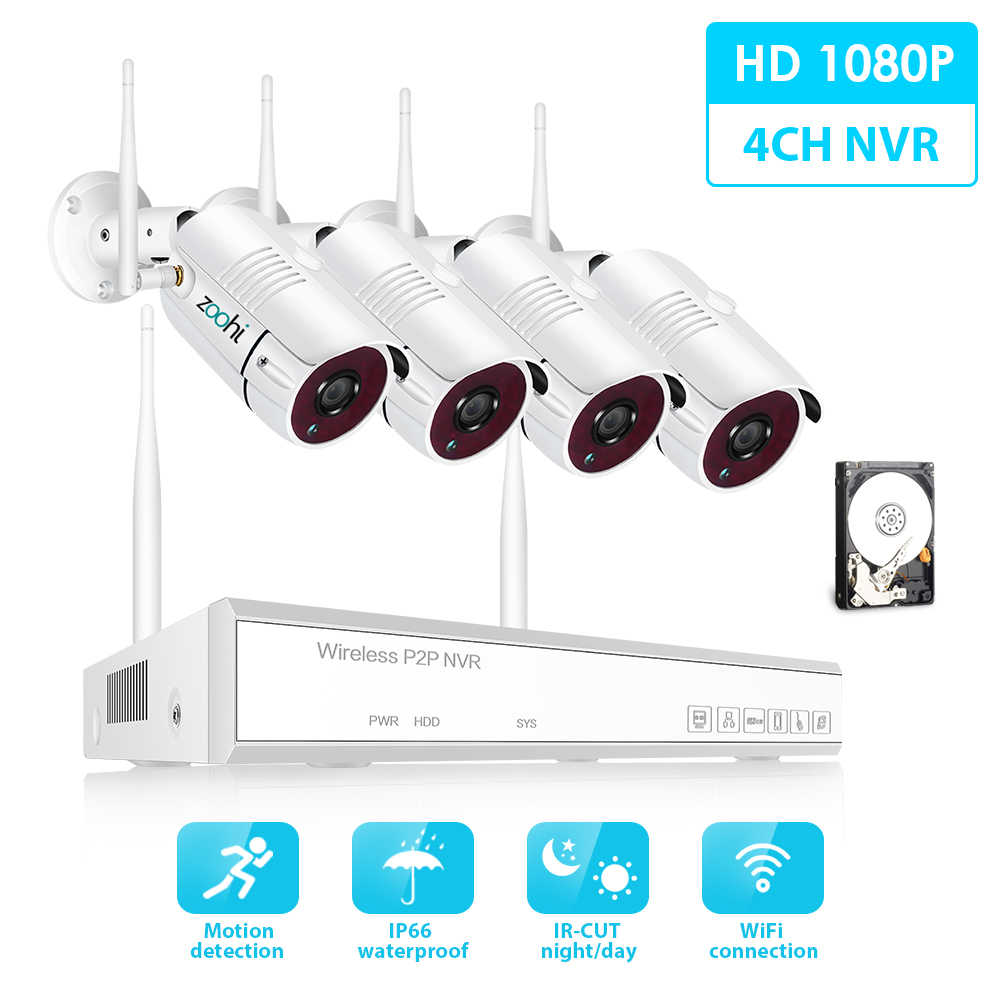 Zoohi Draadloze Surveillance Systeem Kit 1080 P 2MP HD WIFI Camera Home Security Camera Systeem Nachtzicht Video Surveillance Kit