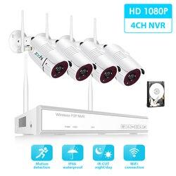 Kit de sistema de vigilancia inalámbrica Zoohi 1080 P 2MP HD WIFI cámara de seguridad del hogar sistema de cámara de visión nocturna equipo de vigilancia de vídeo