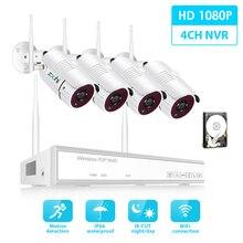 Zoohi Kit Sistema di Sorveglianza 1080P 2MP HD WIFI Della Macchina Fotografica Senza Fili A Casa Sistema di Telecamere di Sicurezza di Visione Notturna Video di Sorveglianza Kit