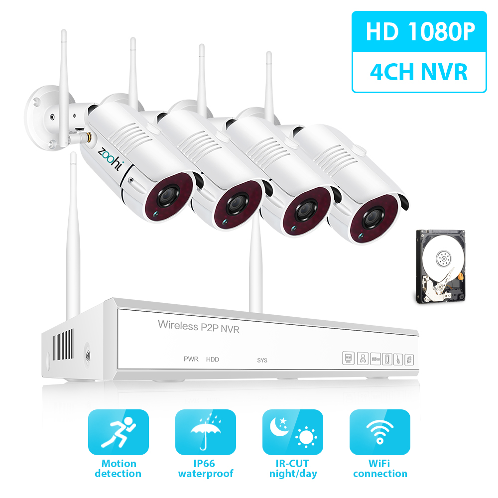 Zoohi Wireless Surveillance System Kit 1080P 2MP HD WIFI Camera Home Security Camera System Night Vision Video Surveillance Kit
