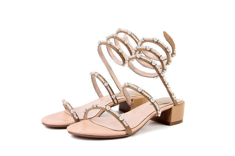 Sandales Originale Lenkisen Femmes Confortables Peep Toe Populaire Slip Kid L9f8 Conception Talons Environ Noir apricot Perles Solide Med Parti Sur Suede qqaAEZ