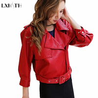 2018 Fashion Spring Autumn Wine Red Black Pink Faux Leather Jackets Women Lady Bomber Motorcycle Cool