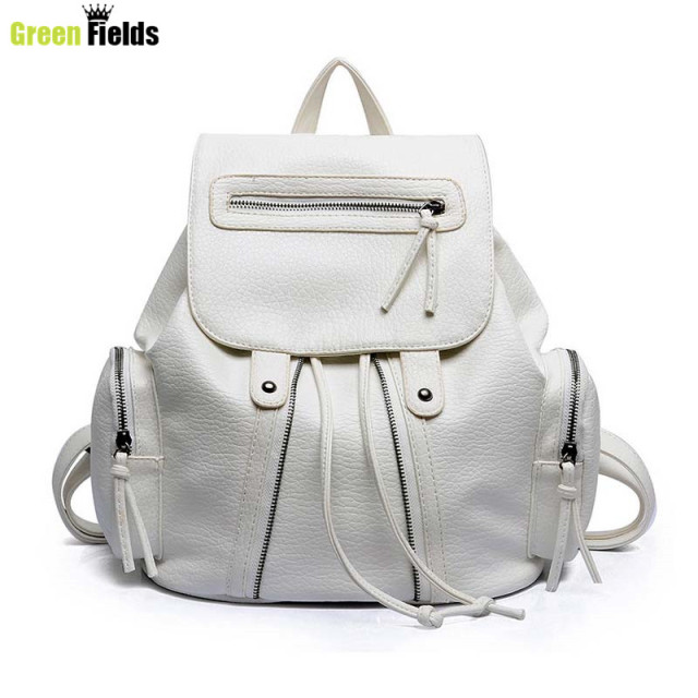 2015 Leather ladies backpack women top quality backpack fashion pu women`s black silver white backpack XA754B