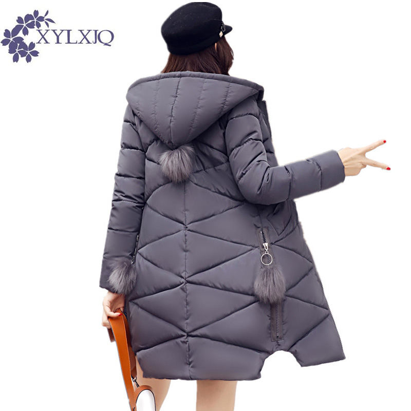 XYLXJQ 2017 New Autumn Winter Cotton Jacket Women Padded Slim Medium-long Hooded Coat Thick Casual Parkas Female Overcoats HQ142 four flowers print warm thick cotton padded long coat autumn new casual slim jacket women winter casual outerwear
