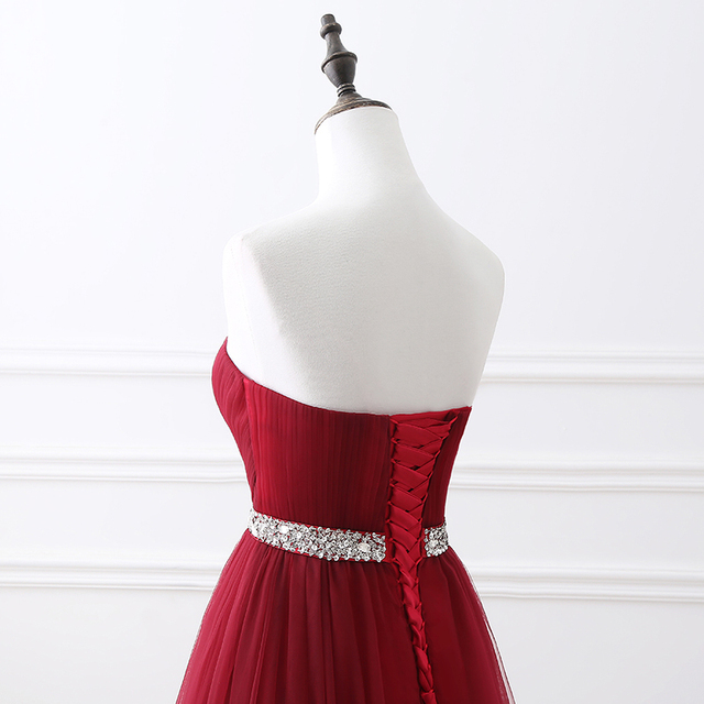 Simple 2020 Women Wine Red Evening Dress Formal Tulle Dresses Sweetheart Neckline Sequin Beaded Prom  GraduationParty Dress 5