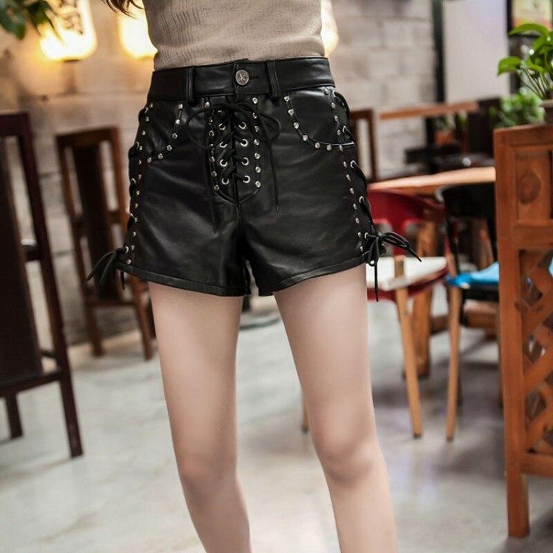 New Designer Rivet Lace Up Genuínos Shorts de Couro de Pele De Carneiro Shorts De Couro Reais Das Mulheres De Luxo Do Punk Cintura Alta Senhoras Streetwear - 4