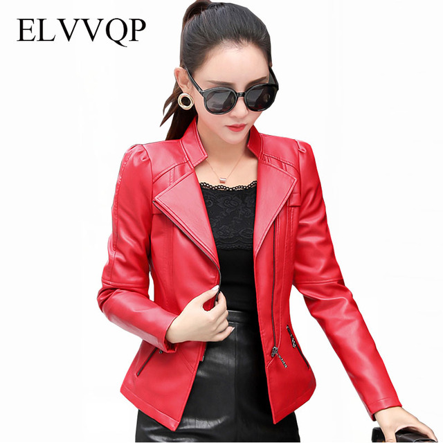 f4e6de54db3 Spring Casual PU Leather Jacket Women Classic Zipper Short Motorcycle  Jackets Lady Autumn Soft Leather Basic Coat Black LF248